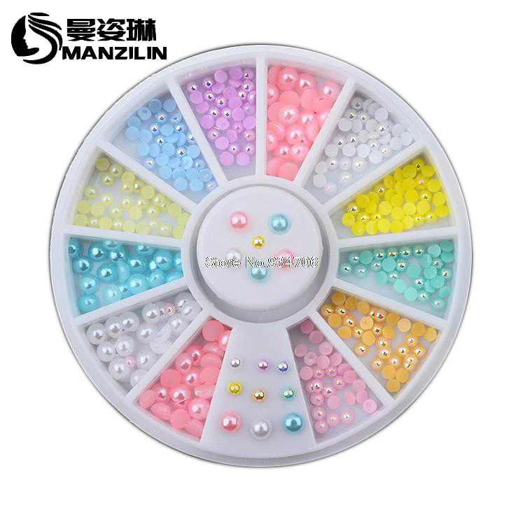 MANZILIN SP0001-41 Hot 12colors Mix Sizes Pearl Nail Art Stickers Tips Decoration Wheel Glitter Nail Rhinestone Decoration Tools monja 48 jar mix style nail art rhinestones beads glitter powder sequins flakes stickers 3d design decoration