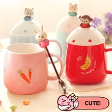 Creative small ceramic milk mug with animals cute cartoon three-dimensional coffee cup Lovely Chilren nice gift With Spoon