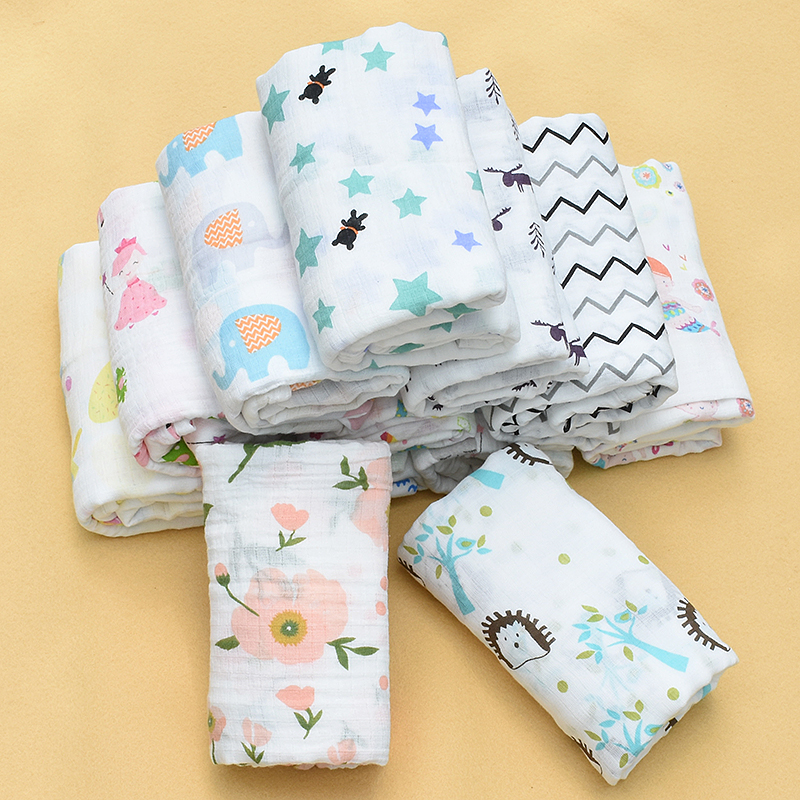 100% Muslin Cotton Baby Swaddle Multi-use Baby Blankets Newborn Swaddle Muslin Infant Gauze Both Towel Baby Warp 110X110CM
