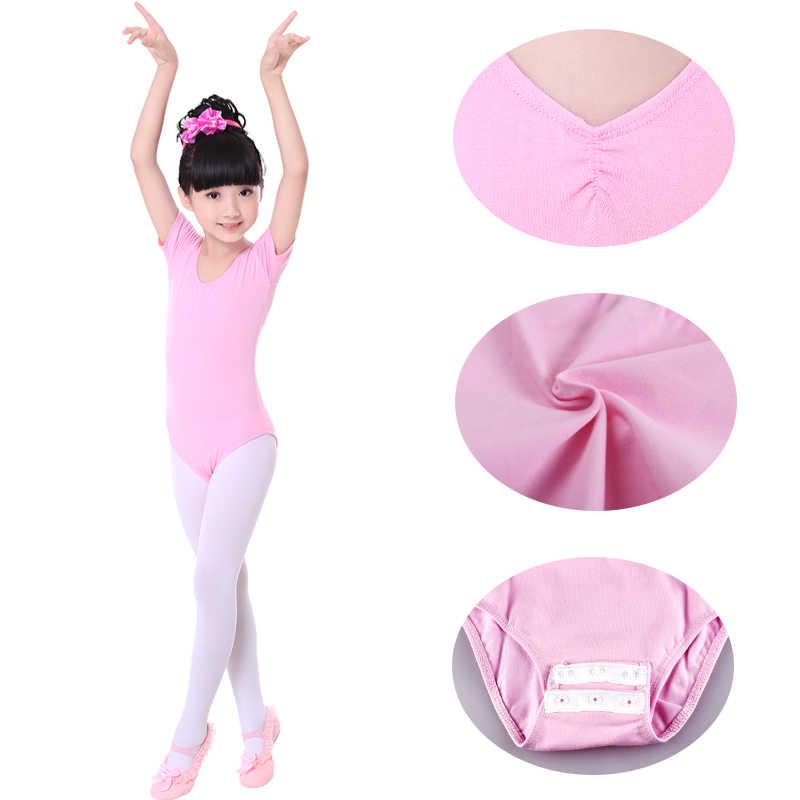 סיטונאי ארוך/קצר שרוול כותנה ילדי ילדי בלט בגד גוף בנות התעמלות ריקוד בגד גוף בלט