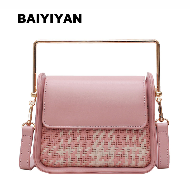 Fashion Women Beach Woven Shoulder Bag Personalized Metal Handle Handbag Ladies Shopping BagFashion Women Beach Woven Shoulder Bag Personalized Metal Handle Handbag Ladies Shopping Bag