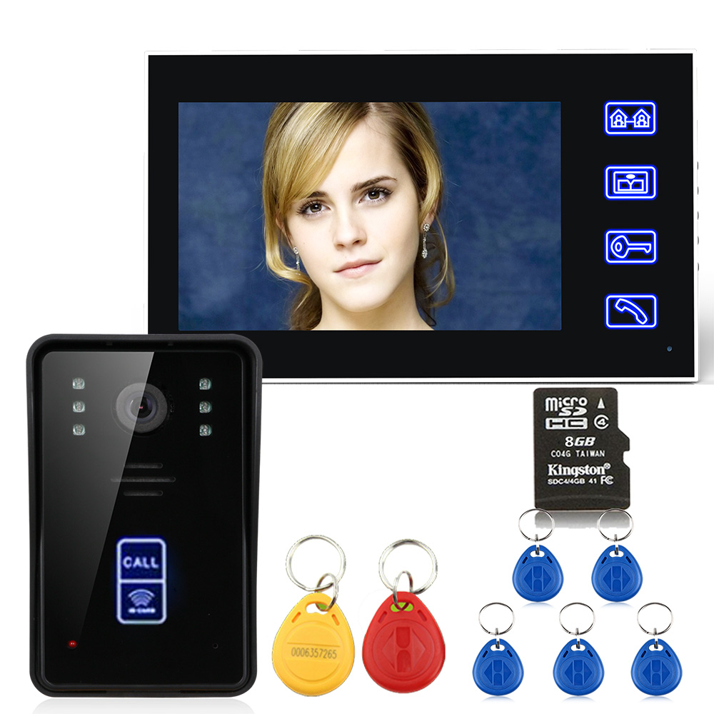 7 RFID Video Door Phone Intercom Doorbell With Recording  8G TF Card Night Vision Security CCTV Camera  7 RFID Video Door Phone Intercom Doorbell With Recording  8G TF Card Night Vision Security CCTV Camera
