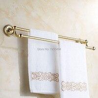 Double Gold Towel Bar Romantic Antique Brass Bathroom Towel Racks Wall Mounted Towel Shelf TR1005