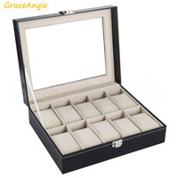 GraceAngie 1PC Superior Wrist Watch Container High Quality Women Men Jewelry Bracelet Anklet Display Storage Box 10 Slots