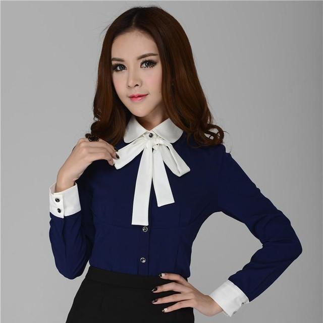 Nuevo estilo 2015 primavera Formal mujer camisas azules