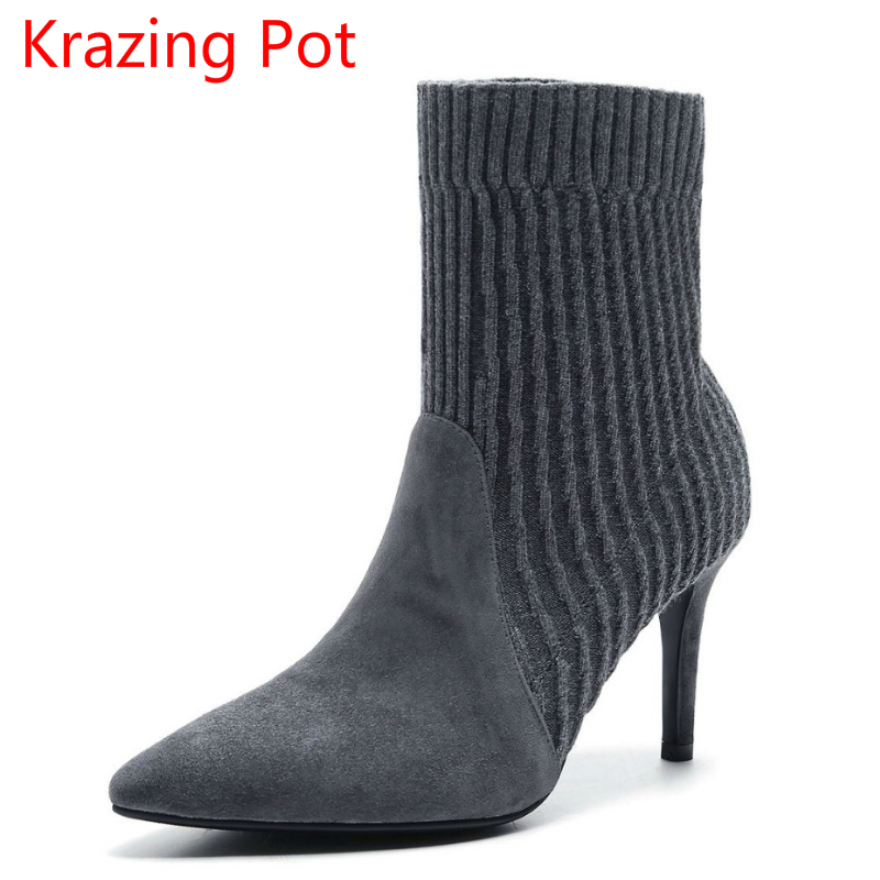 New Arrival Sheep Suede Pointed Toe Slip on High Heels Winter Shoes Vintage Fashion Boots Model Runway Women Mild-calf Boots L50 цены онлайн