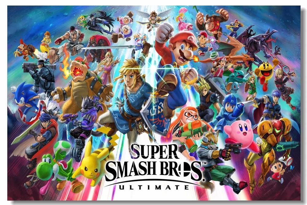 Custom Canvas Wall Mural Super Smash Bros Ultimate Poster Super
