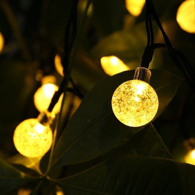 HOT 30 LED lederTEK Solar Outdoor String Lights 20ft 30 LED Warm White Crystal Ball Solar Powered Globe Fairy Lights for outdoor