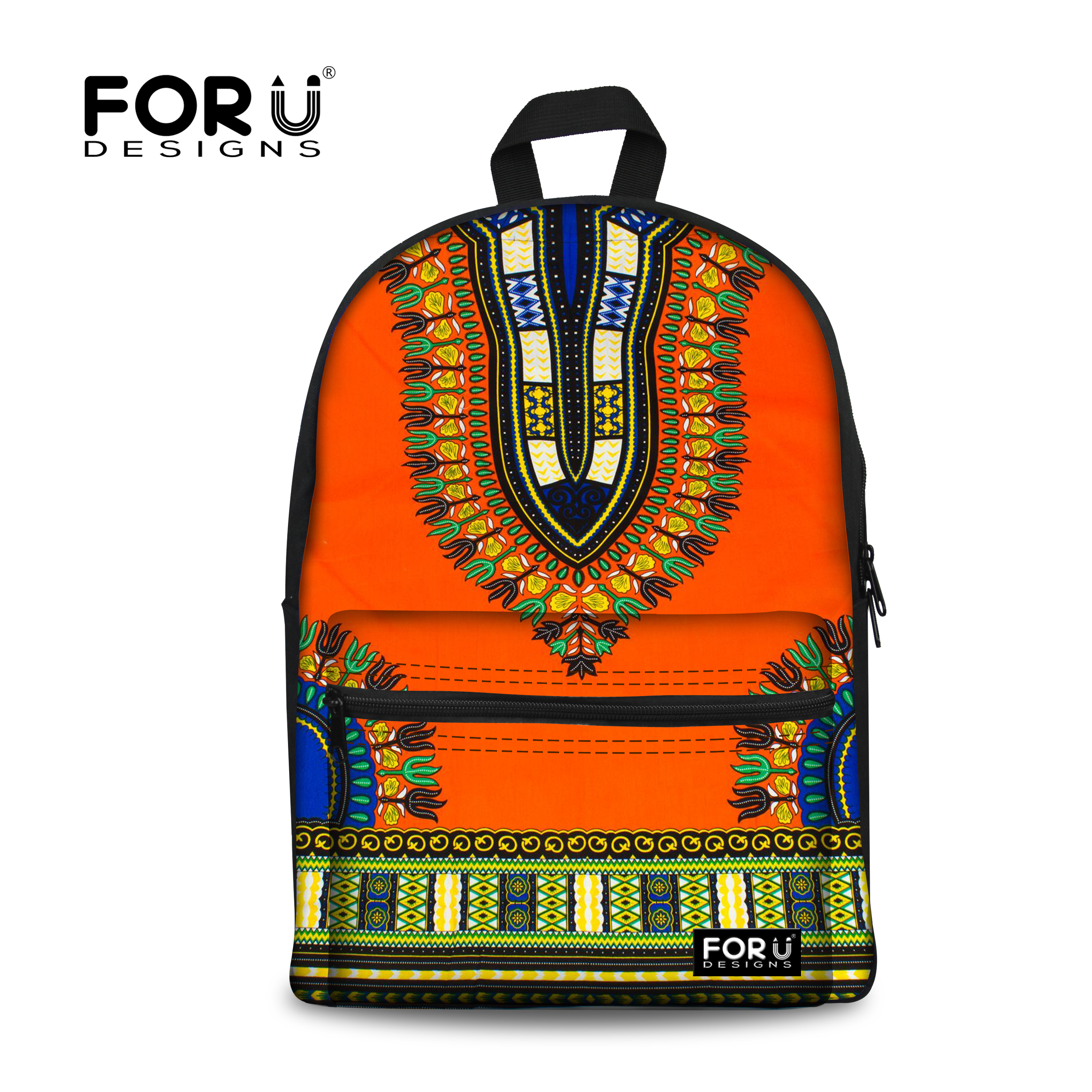 FORUDESIGNS Tribal Ethnic School Bag Backpack For Children Girls African Traditional Printed Vintage Teenager Kid Book Schoolbag round beach throw with tribal chevron totem printed