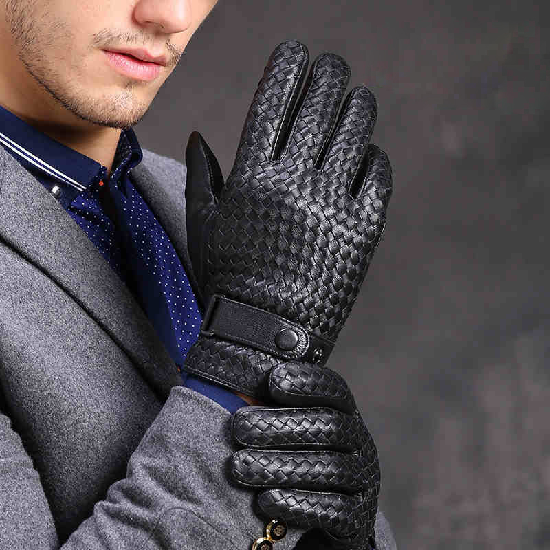 Free Shipping High Quality Men Leather Gloves Fashion Hand Woven Button Genuine Sheepskin Gloves Winter Warm Driving Mittens
