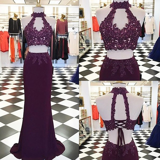 c3df48b667 Decent Two Piece Burgundy Prom Dress 2017 Halter Neck Keyhole Open Back  Lace-up Appliques Beading Prom Gown Vestidos De Festia