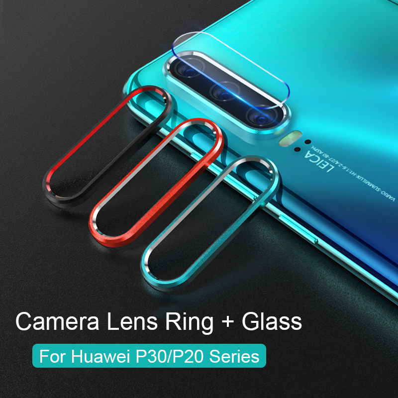 Tempered Glass On For Huawei P30 P20 Pro Glass For Huawei P30 Screen Protector Glass Metal Camera Lens Protective Ring Case