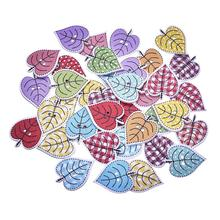 50Pcs/Lot Leaves Wood Buttons For Craft DIY Clothing Decorative Scrapbooking 2 Holes Accessories Decoration