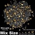 Hotfix Rhinestones Mine Gold Mixed sizes SS6 SS10 SS16 SS20 SS30 720pcs 20g for Rhinestone Motifs Nail Art Dec Shiny Nail Strass