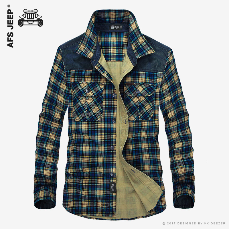 mens office. afs jeep menu0027s plaid cotton casual shirts office long sleeve fashion brand high quality wholesale male mens