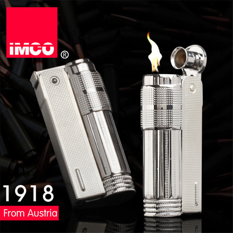 Original IMCO Lighter Gammel Bensin Lighter Ekte Rustfritt Stål Sigarett Lighter Sigar Brann Briquet Tobacco Bensin Tennere