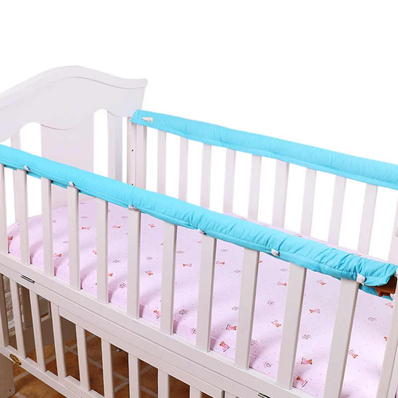 Algodão grosso bebê berço cama guardrailsprotector protetor 1 par berço pára-choques tiras para bebê recém-nascido proteção de segurança pára-choques 5 tamanhos