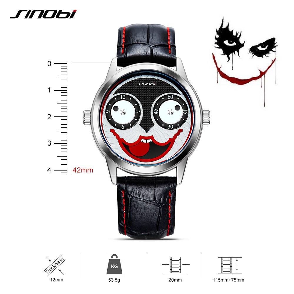 Sinobi hombres Relojes de cuarzo correa de cuero de Moda hombre creativo  Niños payaso Joker reloj Hombre Nuevo Relogio Masculino en Relojes de cuarzo  de ... 047f55504a44