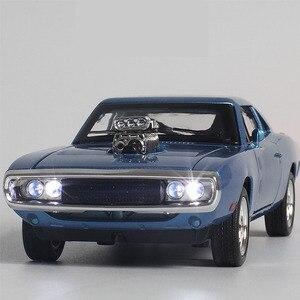 Image 2 - 1/32 Diecasts & Toy Vehicles the fast and the Furious Dodge Car Модель со звуком и светильник, коллекция, Автомобильные Игрушки для мальчиков, подарок для детей
