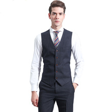 Striped Business Formal Men Suit Tailor Suit (Jacket+Pants+Vest)