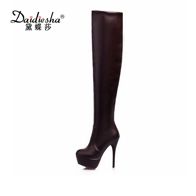 2016 Women Boots Thigh High Boots Over The Knee Boots Platform Thin High Heels Boots Ladies Shoes Lace Up Brown Big Size 31- 46