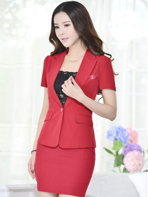 Novelty Red Slim Fashion Womens Work Suits With Tops And Skirt Professional Work Wear Summer Business Women Beauty Salon Outfits