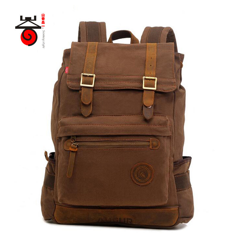 ФОТО Senkey style Large Capacity Rucksack Men's Canvas Backpack Fashion High Grade Leisure Travel Backpack Men Laptop Bag School Bag