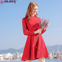 OLOEY Spring Of 2018 New Brand Lace Dress For Women Stand Collor See Through Mini Dress