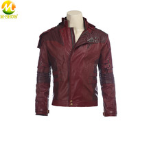 Star Lord Cosplay Costume Short Red PU Leather Jacket Guardians of the Galaxy 2 Peter Quill cosplay Halloween costume for men