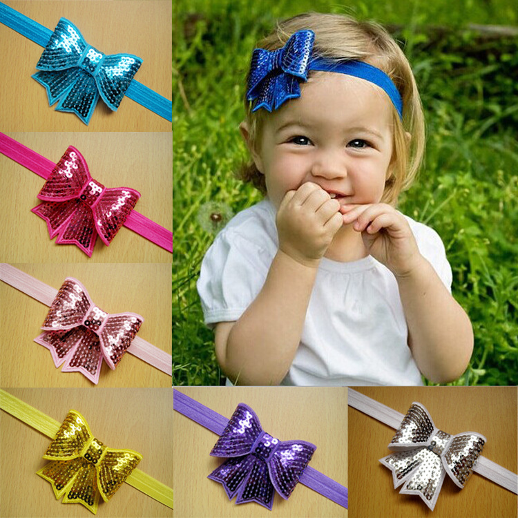 Retail Cute Flower Headband Sequin Little Cheer Hair Bow