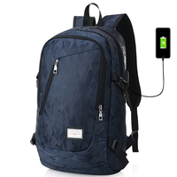 17 Inch Laptop Backpack Men USB Charging Nylon Camouflage Travel Backpack Computer Bag Headphone Hole Rucksack