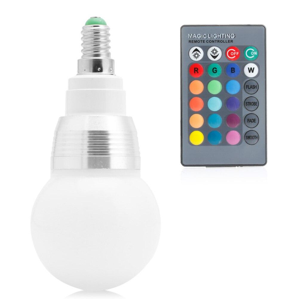 E14 10W 85-265V RGB LED Light Color Changing Lamp Bulb + Remote Control