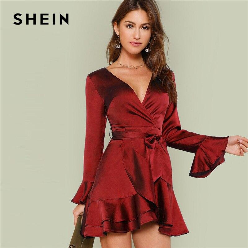 SHEIN Бургундия вечерние однотонные с разрезом на спине, с оборками, с вырезами спереди, с поясом, платье осень, с длинным рукавом, женские элег...