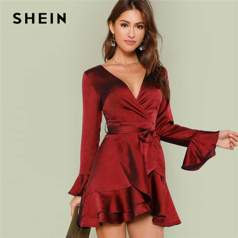 e99c5036b3e25 Detail Feedback Questions about SHEIN Burgundy Party Solid Split ...