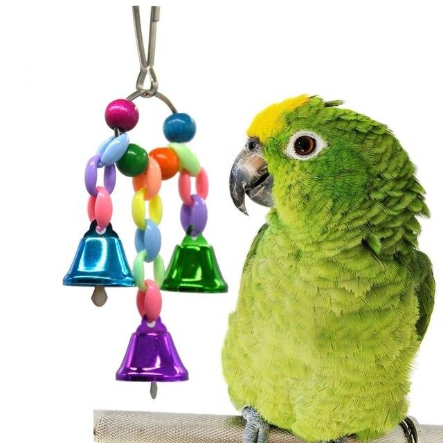Pet Pássaro Sinos Monte Papagaios Garras Mão Captura Pés Gaiola Pendurada Pingente Gaiola de Pássaros Do Brinquedo Brinquedo da Mastigação com Colorido Sino