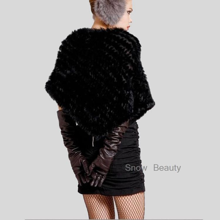 natural real knitted rabbit fur poncho shawl (8)