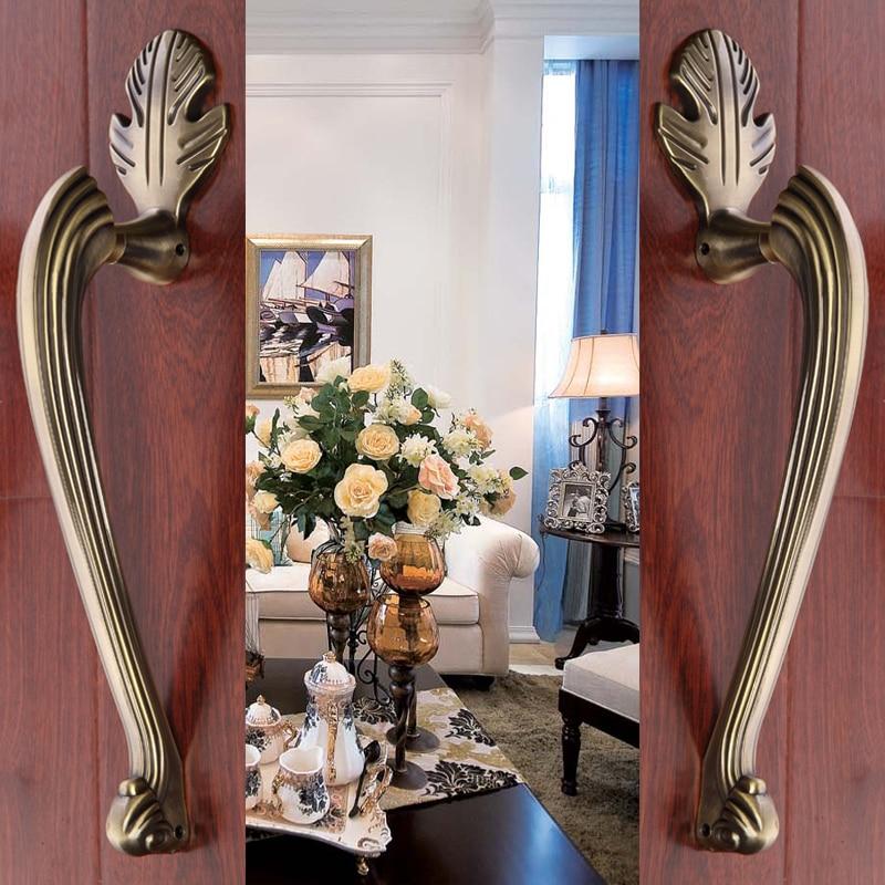 Hotel Door Wardrobe European Antique Copper Solid Wooden Door Sliding Door Handle Cabinet Drawer Handle(C.C:220mm,L:305mm) new antique boutique drawer bookcase wardrobe door art cabinet handle solid brass l 148mm