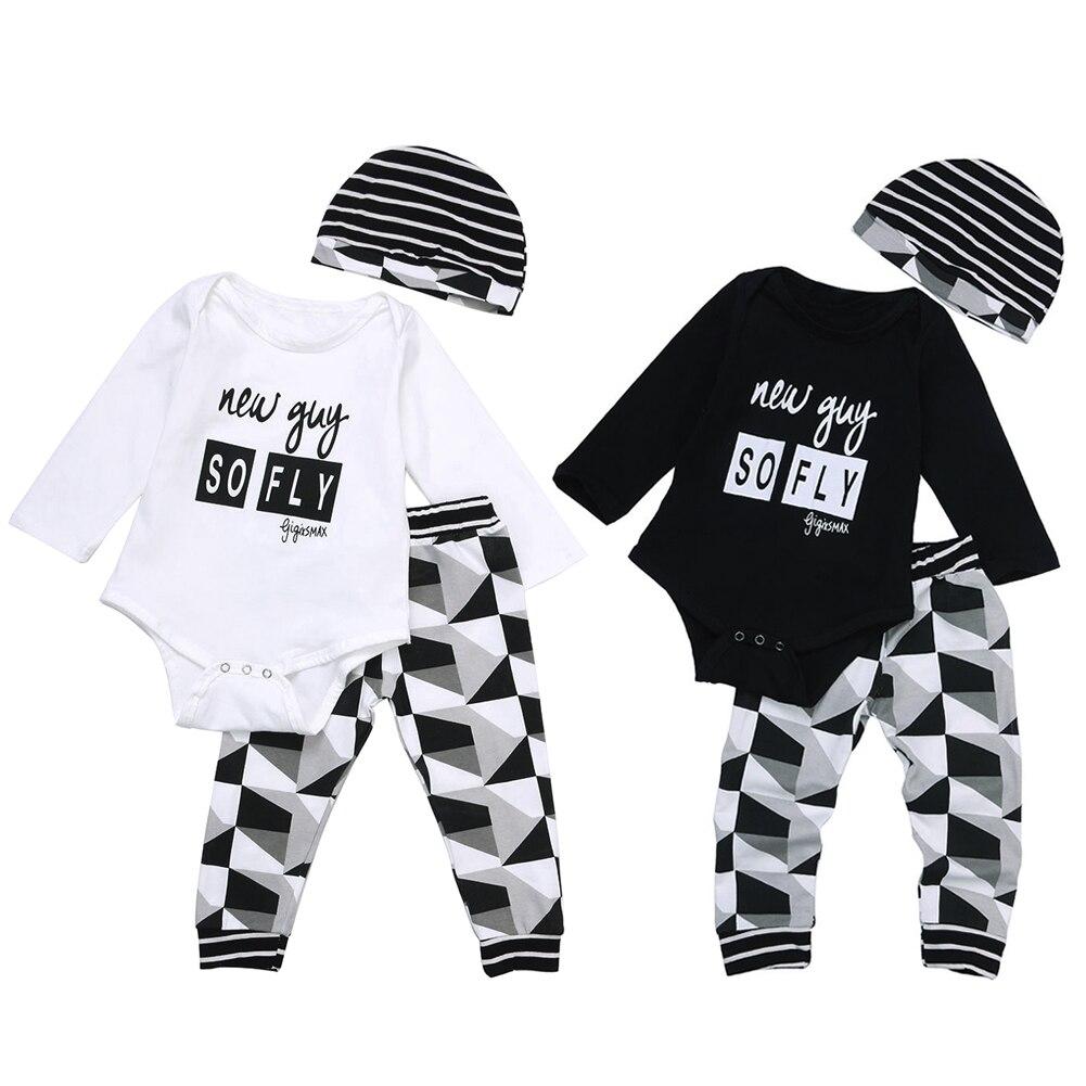 bdfe7e679 3pcs Baby Boy Girl Clothes Set Kids Spring Autumn Outfit Newborn Infant  Bodysuit + Hat + Pants Clothing Set
