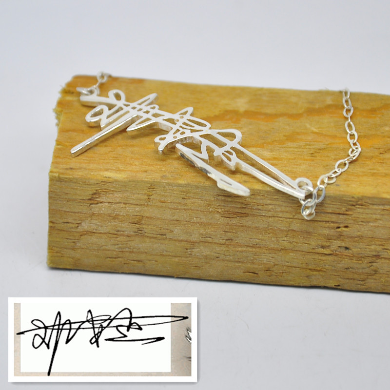 Wholesale Handmade Handwriting Bracelet With Nameplate Personalized Silver Name Jewelry Fashion Design Gift