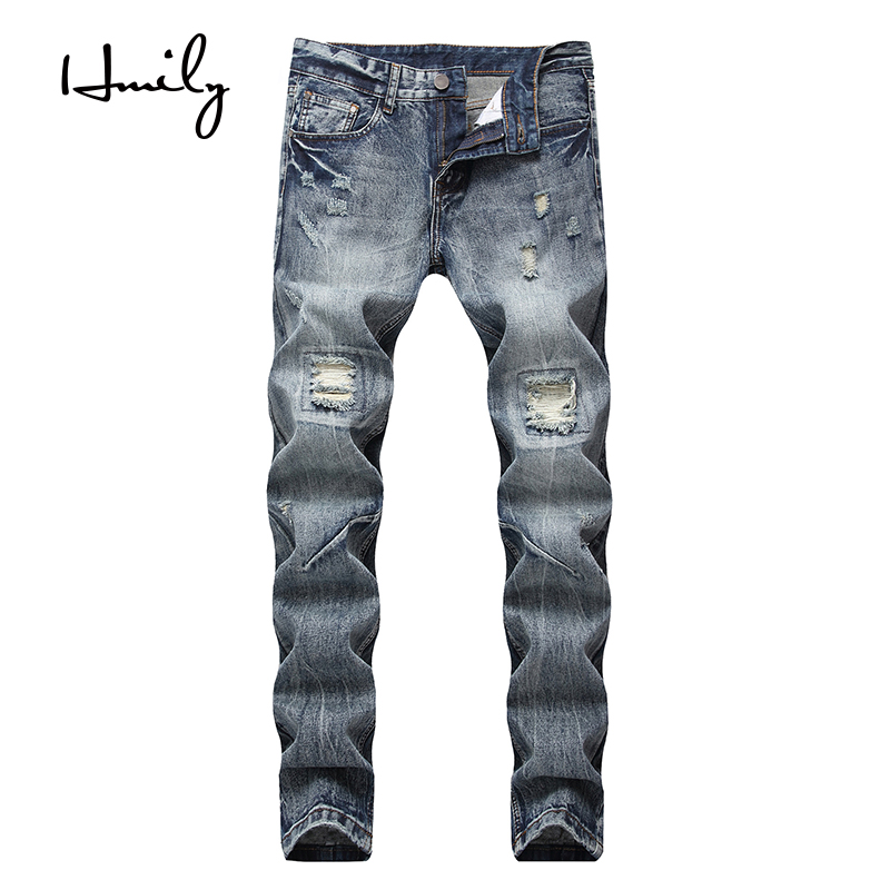 HMILY Luxury Quality Men's Slim Jeans Pants All-match Mens Pencil Pants Straight Blue Hole Jeans For Men Large Capacity Trousers
