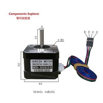 Motor paso a paso Nema17, 12V, 0,28 nm, 0,4 A, 42, 42BYGH34 42, motor paso a paso