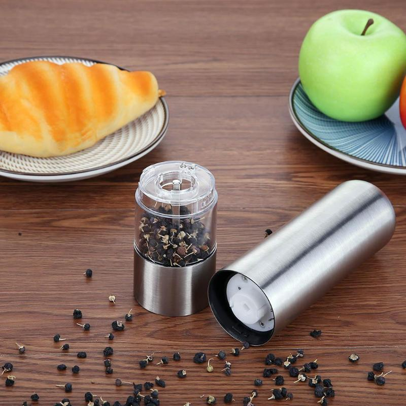 Stainless Steel Electric Pressing Pepper Salt Muller Grinder Spice Sauce Mill Grinding Seasoning Grinding Kitchen Tools portable stainless steel electric pepper spice salt milling grinder red silver 6 x aaa