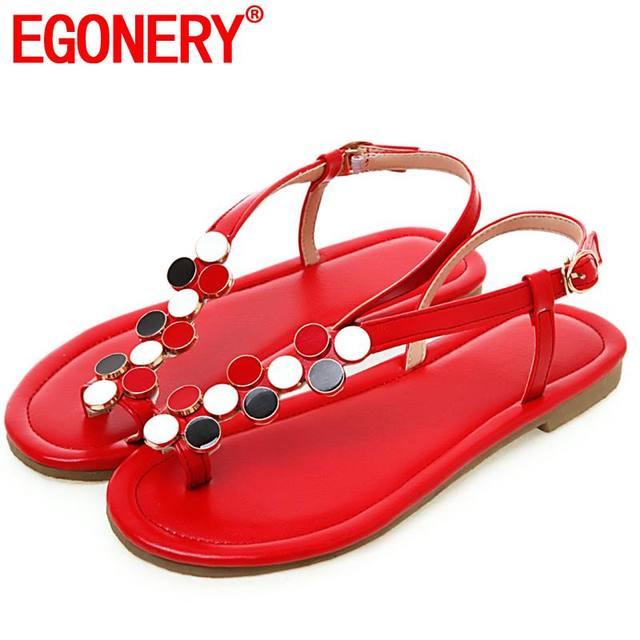 Sandálias mulher plus size 32-45 EGONERY flats com sapatos de praia moda verão étnicas roma preto branco vermelho da menina flip flops sapatos