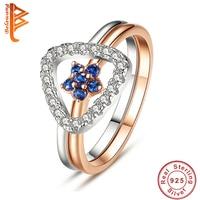 BELAWANG Rose Gold Color Finger Ring For Women With Blue Cubic Zircon Star Design 925 Sterling