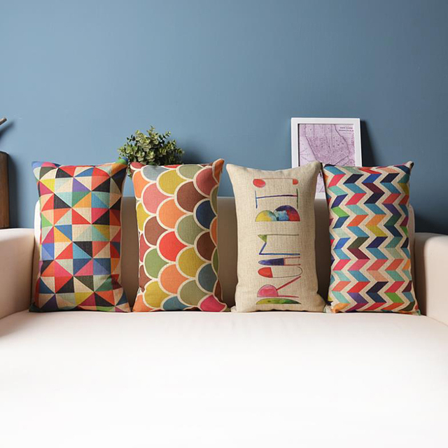 Decorative Throw Pillow Cushion Cover Geometric Lumbar Colorful