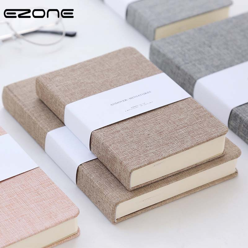 EZONE A3/A5 Cute Fresh Style Cloth Cover Simple Pure Color  Blank Pages Related To The Horizontal Notebook Daily Efficiency Book