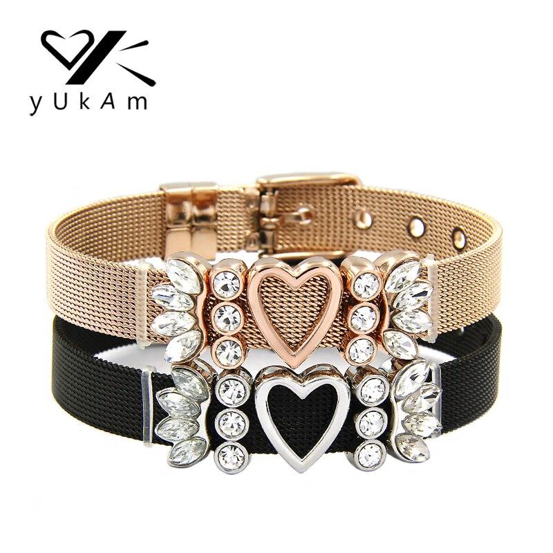 YUKAM Jewelry Crystal Rhinestones Sun Burst Angel Wings Heart Slide Charms Stainless Steel Mesh Keeper Bracelets for Lover Gifts