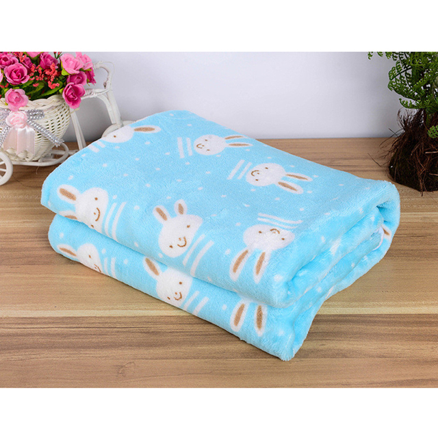 2017 New Pet Dog Beds Mats Cover Cute Cartoon Rabbit Elephant Pattern Warm Soft Fleece Blanket Puppy Bed Mat Cover 3 Size S M L