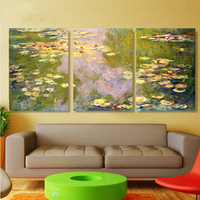 3pcs/set Claude Monet Abstract Waterlilies Hand Painted Oil Painting On Canvas Wall Art Pictures For Home Decor