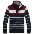 Spring Fashion Pullover Men Sweater Brand Design Striped Pull Homme Casual Slim Fit Thick Mens Zipper Sweater Male Turtleneck